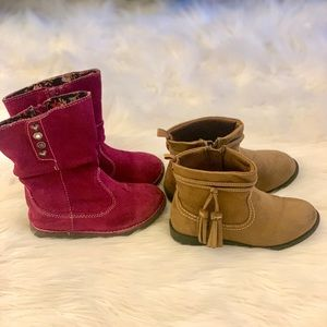 2 pairs suede winter boots